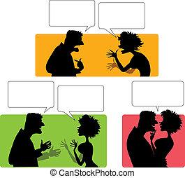 emotional, paar, silhouette