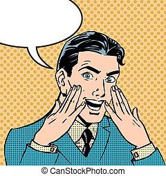 Emotionale Reaktion Männer poppen Art Comics Retro Stil Halftone