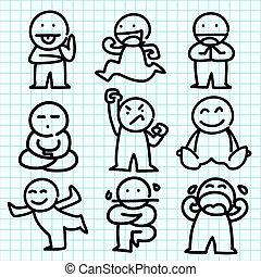 Emotions Cartoon auf blauem Diagramm.