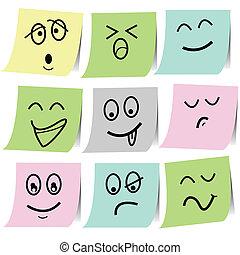 Emotions-Sketch auf dem Papierbehälter