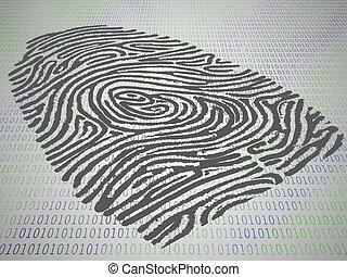 Empfängnisverhütungsfingerabdruck auf einem Computercode