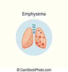 emphysem, isolated., krankheit, abbildung, diagramm, chronisch, vektor, lungen