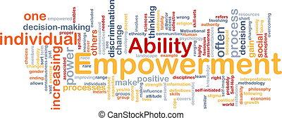 Empowerment ist ein Knochenhintergrundkonzept
