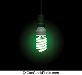 Energieeinsparung fluoreszierender Glühbirne - Schnittvektor