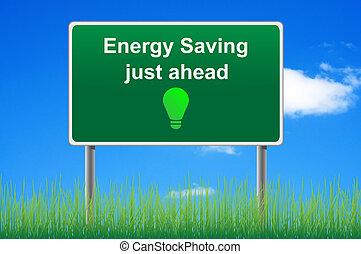 Energieeinsparung, Konzept Road-Zeichen im Himmel.