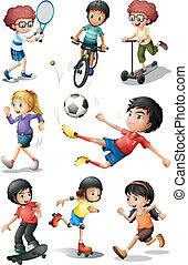 engagieren, tätigkeiten, verschieden, kinder sport