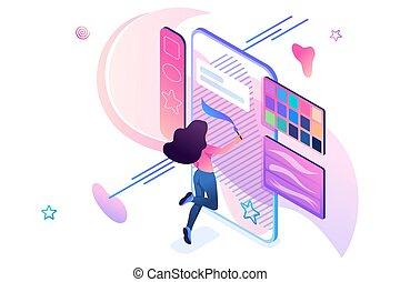 engagiert, isometric., junger, gebrauchend, concept., 3d, zieht, design, web, smartphone, begriff, m�dchen, schirm, application., kreativität, kreativität, software
