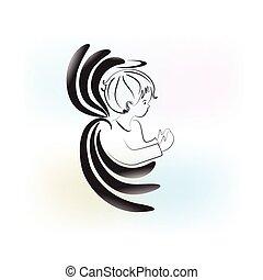 engel beten, kind, logo