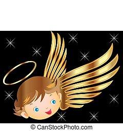 Engel mit goldenen Flügeln.