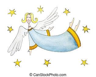 Engel mit Sternen, Kinderzeichnung, Wasserfarbe auf Papier