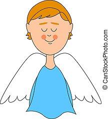 Engel mit weißen Flügeln, Illustration, Vektor auf weißem Hintergrund.