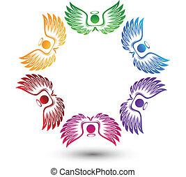 Engel um das Logo.