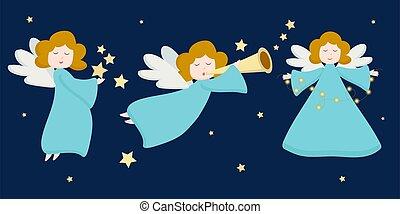engelchen, clothes., gruß, engelhaft, karten, fliegendes, design, weihnachten, freigestellt, vektor, figur, porträt, dunkel, angels., einladungen, stars., reizend, ansicht, blaues, zeichen, hintergrund