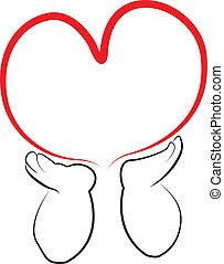 Engelhände halten ein Herz-Logo