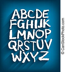 Englisches Alphabet und blauer Hintergrund