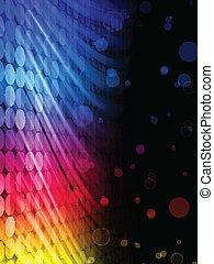 Entdecke abstrakte farbenfrohe Wellen im schwarzen Hintergrund