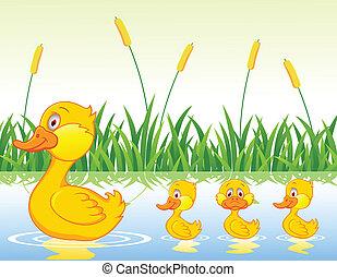 Enten-Familien-Cartoon.