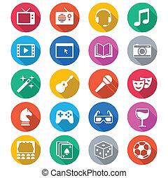 Entertainment Flat Farb Icons