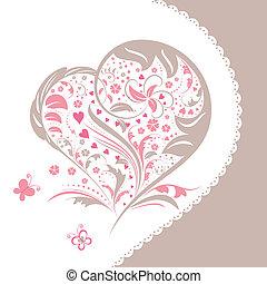 Entfernen Sie Blumenherzen, Formkarte