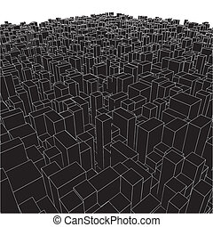 Entfernen Sie die städtischen Kisten vom Würfel