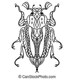 entspannend, hintergrund, insekten, vector., anti, beanspruchen, weißes, freigestellt, käfer, buch, färbung, verziert