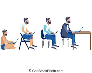 entwicklung, flache kunst, klammer, freiberufler, generation, karikatur, satz, vektor, angestellter, programmierer, stadien, stadien, design