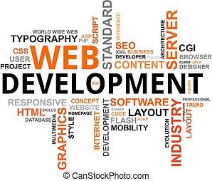 entwicklung, wort, -, wolke, web