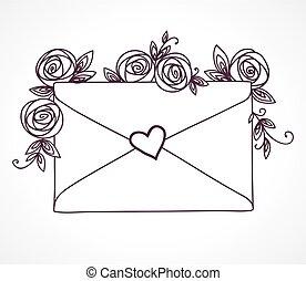 Envelope versiegelt mit Herz mit Rosenblüten