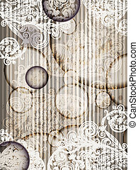 Eps 10, Vektoreneinladungspapier mit abstraktem Blumenmuster mit grunge Platschen und Streifen