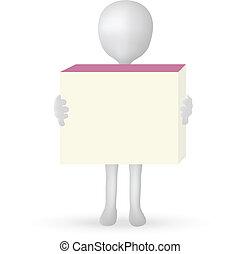 EPS Vector 10 - kleine 3D Männerhände mit einer Kiste