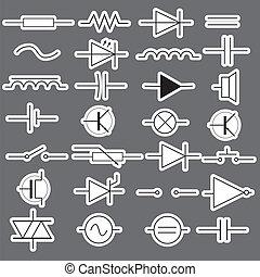 eps10, symbole, technik, elektrisch, schematisch, aufkleber