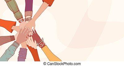 equality.oneness.agreements., oberseite, cooperation., gemeinschaftsarbeit, culture.racial, portion, andersartigkeit, frau reicht, people.group, mann, people.diverse, einander, gemeinschaft, verschieden