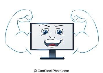 Er lächelt mächtigen Computer.