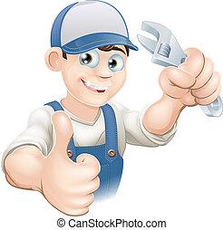 Er wirft Klempner mit Spanner