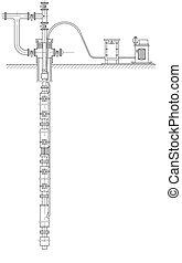 erdölquelle, schematisch