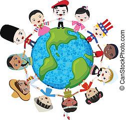 Erd multikulturelle Kinder