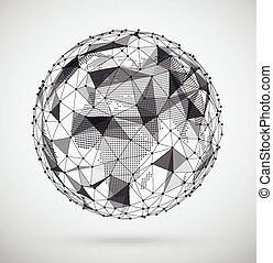 erdball, abstrakt, geometrisch, vernetzung, pixel, kugelförmig, kugelförmig, global, landkarte, form., design., innenseite.