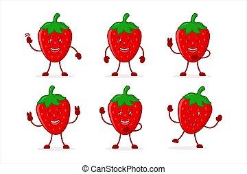 erdbeer, abbildung, reizend, vektor, satz, zeichen