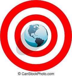 Erde im Zentrum der Bullen Augen auf das Ziel der roten Welt