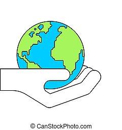 Erde in Palmen. Planet Vector Illustration