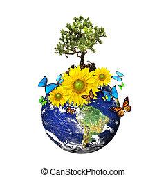 Erde mit Baum und Blumen, isoliert über weißem Hintergrund.