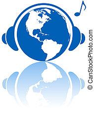 Erde-Musik-Welt-Kopfhörer auf dem westlichen Weltplaneten