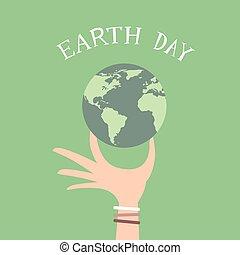 Erde-Tag-Mann-Hand halten Globus flach.