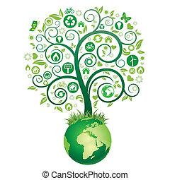 Erde und grüner Baum