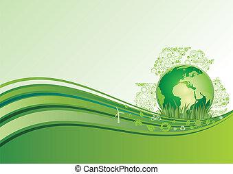 Erde und Umwelt-Icon, grüner Ba