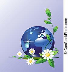 Erde und Wassertropfen