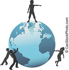Erdkinder bewegen die Welt in die Zukunft zu retten