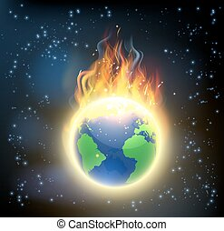 Erdkugel brennt.