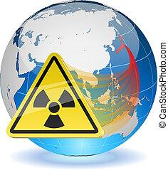 Erdkugel mit Strahlungsrisikozeichen