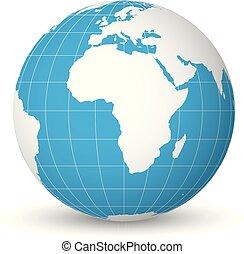 Erdkugel mit weißer Weltkarte und blauen Meeren und Ozeanen konzentriert auf Afrika. Mit dünnen weißen Meridianen und Parallelen. 3D-Vektorgrafik